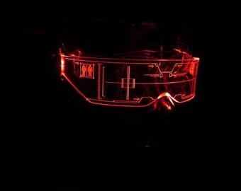 The original Illuminated Cyber goth visor Citadel Clear **choose your LED colour**
