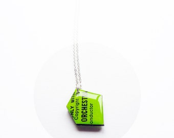 eco record pendant necklace recycled necklace green pendant funky necklace geometric pendant colorful jewelry bold jewelry resin pendant