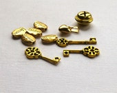 Metal Charms Beads. Mixed Lot of Metal Beads Charms. Goldtone. Keys. Message Beads. Lot of 10.