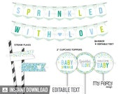 Baby Sprinkles Party Pack - Boy Baby Shower - Baby Sprinkle - INSTANT DOWNLOAD - Printable PDF with Editable Text