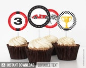 Car Race Party - Cupcake Toppers - Party Circles - Birthday Party - INSTANT DOWNLOAD - Printable PDF with Editable Text