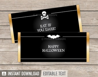 Black & White Halloween Party - Chocolate Wrappers - Halloween Party Favor - INSTANT DOWNLOAD - Printable PDF with Editable Text
