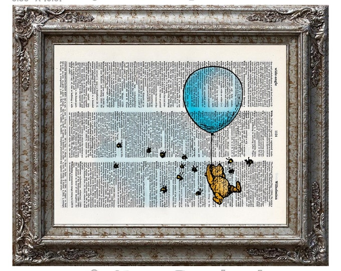 Winnie the Pooh and the Blue Balloon 1 plain with Hunny Bees on Vintage Upcycled Dictionary Art Print Book Art Print Classic Adventure Honey