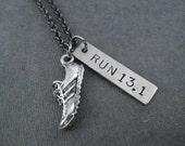 RUN 13.1 Running Shoe Necklace - Half Marathon Running Necklace on Gunmetal chain - Running Gift - First 13.1 - Half Marathon Training