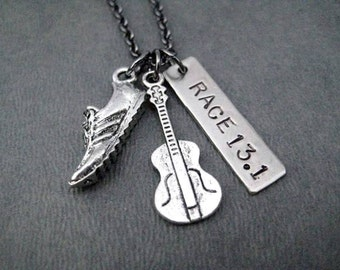 ROCK 'n' ROLL RACE 13.1 Running Jewelry - Half Marathon Running Necklace on Gunmetal chain - Rock and Roll Race Series Half Marathon