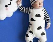 Baby romper with hat set. Take home outfit. Gender neutral. Black, white, clouds. 0-3 mo one piece outfit