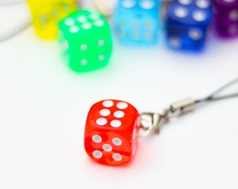 D6 phone charm - red, dnd, dice, tabletop, board games, geeky charm, nerdy phone charm