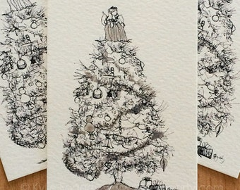 Christmas Drawing, 2015, Limited Ed Christmas ACEO, Black and White Christmas Tree - Silver Tinsel - ACEO  - Handpainted Fine Art Print