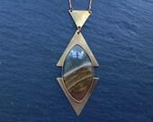 Sale - Picture Jasper Diamond & Triangle Necklace - Brass