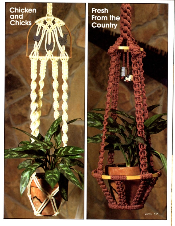 Macrame Book Cover Tutorial ~ Macrame pattern book plant hangers by