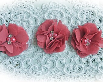 Reneabouquets Flower Set -Fall Colors - Sangria Pink Chiffon, Pearl And Rhinestone Fabric Flowers