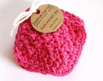 Square Face Scrubby Set . Set of 3 . Crochet . 100 Percent Cotton . Magenta