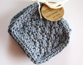 SHOP CLOSING SALE . Square Face Scrubby Set . Set of 3 . Crochet . 100 Percent Cotton . Denim Blue