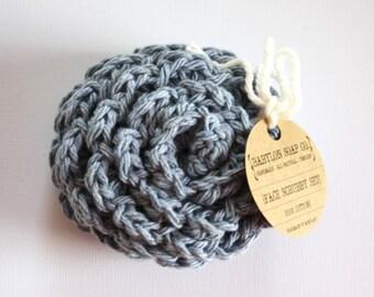 SHOP CLOSING SALE . Flower Face Scrubby Set . Set of 3 . Crochet . 100 Percent Cotton . Denim Blue