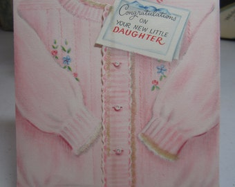 Sweet 1940's-50's Hallmark novelty Congratulations on new little daughter die cut an flocked pink sweater shaped greeting card