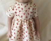 """Hand Made Cream with Tiny Roses Cotton Dress for American Girl Doll or any 18"""" Doll"""