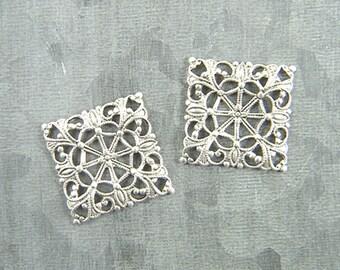 Antiqued Silver Filigree, Square Filigree, Brass Filigree, Cabochon Wrap, Brass Connector, 20mm - 4 pcs. (sl112)