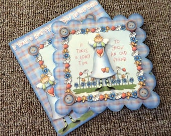 Old friends card with matching envelope and insert
