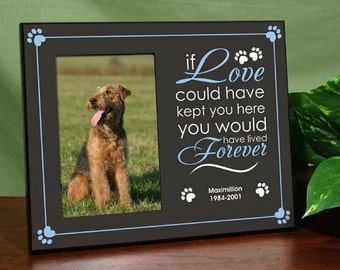 personalized pet memorial dog printed picture photo frame sympathy gift available in pink or blue