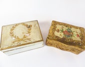 Set of 2 Pretty Florentia Gold Wood Boxes - Florentia Style Trinket Box