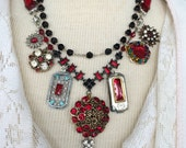 Red Carpet Assemblage Necklace, Multi-strand