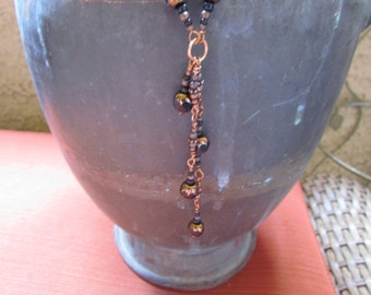 Handmade Copper Link and Black Cathedral Glass Drop Necklace - one of my favorites