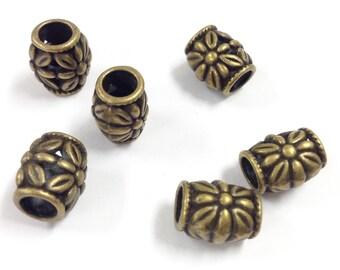 6 10x7mm bronze bead Spacers