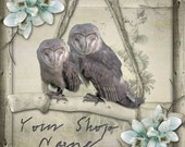 Basic Custom Etsy Shop Banner Set (Pre-made) - Barn Owls