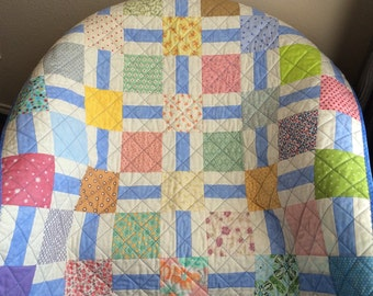 "A Beautiful 40"" X 40"" Soft Color Scrappy Quilt"