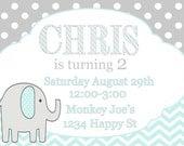 Chevron Elephant Baby Boy Birthday invitations, Elephant blue gray Birthday invitation