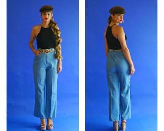 high waisted denim/ bell bottom high waist jean trousers/ 1970s/ medium- large