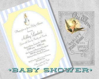 Printed Peter Rabbit Baby Shower Invitation for a Boy - Blue and Yellow Storybook Baby Shower - Custom Baby Boy Shower Invites