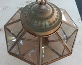 Vintage Brass and Smoked Glass Hanging Light Fixture  ~  Brass Light Fixture  ~  Brass Hanging Light Fixture  ~  Brass and Glass Fixture