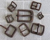 8 Vintage Rusty metal buckles, DIY metal art supplies, rusty metal findings, robot supplies, junk art supply, primitive craft supplies, HL6