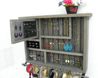 Jewelry Box with ring storage, metal mesh door for post earrings and bangle bar