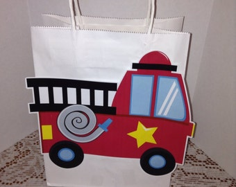 Cute Firetruck Handled Party Goody Bags