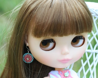 Dangly Earrings for Blythe Dolls with Pink & Blue Filigree, Rhinestones