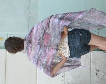 Lacy Airy Wool Scarf, Cobweb felted scarf, felted scarf, Cowl Scarf , gift for her, pink gray, Wraps Shawls for all seasons, eco fashion