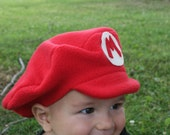Super Mario Brothers-INFANT or TODDLER Fleece MARIO Hat  - Dress Up - Make Believe