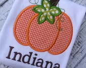 Gingham Pumpkin shirt or infant bodysuit. Pumpkin patch outfit. Monogrammed fall clothing. Personalized baby clothes for Autumn Thanksgiving