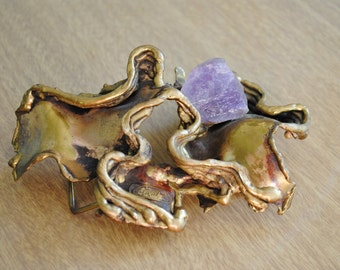 1970's Carvalhu Brutalist Brass and Amethyst Sculptural Belt Buckle /  Copa Collection / Brazil / Statement Belt Pendant