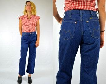 60s Maverick Dark Blue Denim Boot Cut Blue Jeans 28 x 27