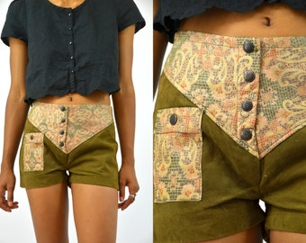 Vintage Bohemain Hot Pants Deerskin Leather Floral Paisley Patchwork Shorts