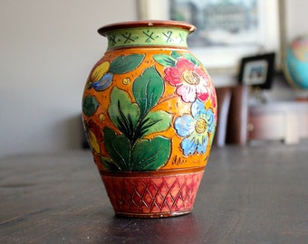 ITALY hand painted clay vase FLOWERS