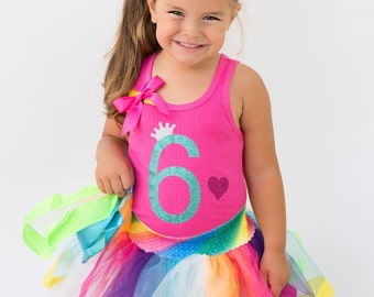 Girls 6th Birthday Shirt 6th Birthday Party Hot Pink Birthday Shirt 6 Birthday Hair Bow Birthday Girl Shirt Personalized Name Rainbow Socks