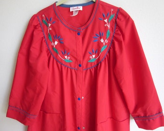 cotton robe coffee coat lounge wear nightgown red  snap front close L