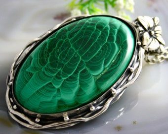 RESERVED Malachite Pendant Green Stone Statement Necklace Sterling Silver