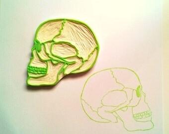 Skull big hand carved stamp
