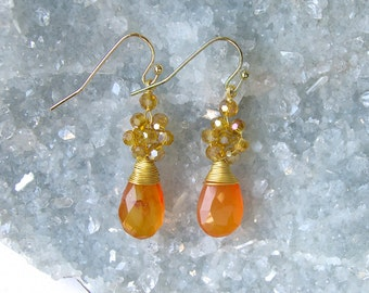 Stone- 'Teardrop' Earrings- Dangle Earrings- Mineral Earrings-Beaded Earrings-Citrine-Labradorite-Red Agate-Amethyst-gold Vermeil
