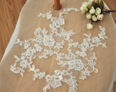Alencon Applique Lace Pair in Ivory for Bridal, Headbands,Veils, Sashes, Costume Design